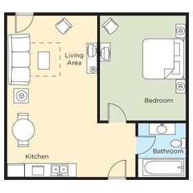 1BDR Suite Floor Plan
