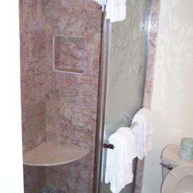 Marble shower in master