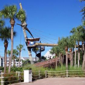 Pirate ship slide in Stormalong Bay pool area