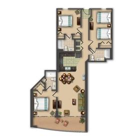 Three-bedroom unit floorplan