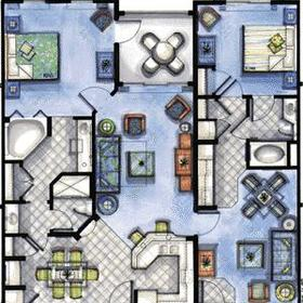 2-bedroom lock-off unit floorplan