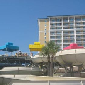 View of resort from water park