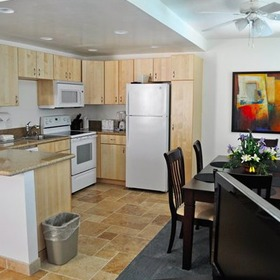 Sand Pebbles Resort Dining Area and Kitchen