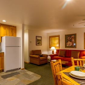 Red Wolf Lakeside Lodge Living Area and Kitchen