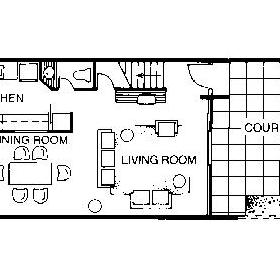 Floor Plan of the 1st Floor of the Garden Townhouses
