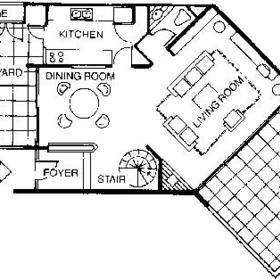 Floor Plan of the 1st Floor of the Ocean View Townhouses
