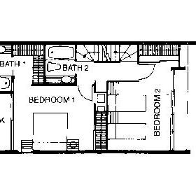 Floor Plan of the 2nd Floor of the Garden Townhouses