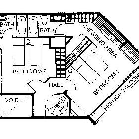 Floor Plan of the 2nd Floor of the Ocean View Townhouses