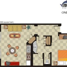 One Bedroom Villa Floor Plan at Rancho Banderas Vacation Villas