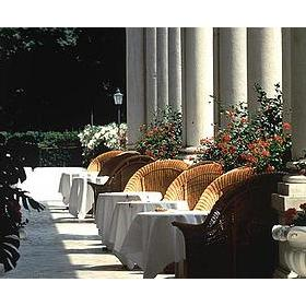 Outdoor patio at the Hotel Des Bains