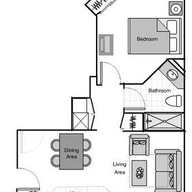 One-Bedroom Villa Floorplan