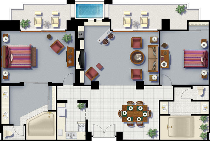 Monarch Grand Vacations - Cancun Resort - Unit Floor Plan