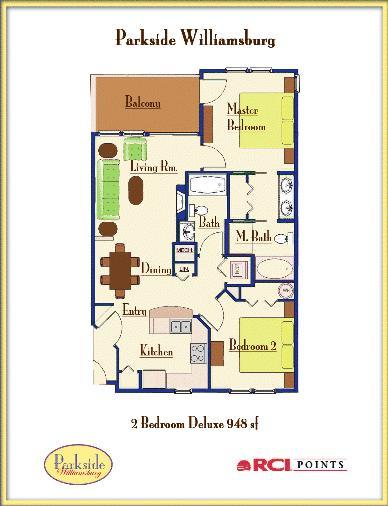 Parkside Resort - Two-Bedroom Deluxe Floor Plan